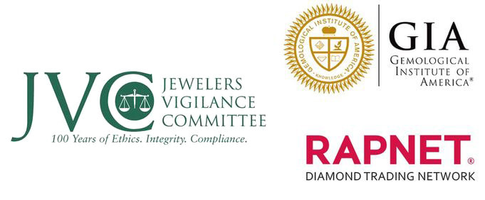 Accredited member of Better Business Bureau, Jewelers Vigilance Committee for Ethics, Gemological Institute of America, RapNet Diamond Trading Network